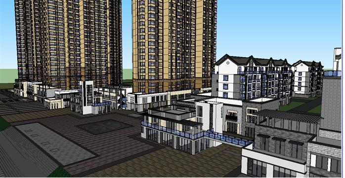 休宁某新中式别墅建筑,高层小区住宅楼,商业街建筑设计方案su模型(3)图片
