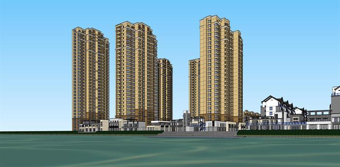 休宁某新中式别墅建筑,高层小区住宅楼,商业街建筑设计方案su模型(4)图片