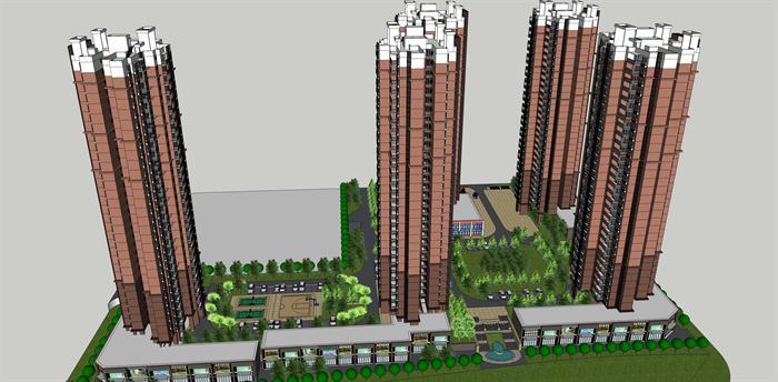 某现代简约高层住宅及商业建筑设计方案su模型 1