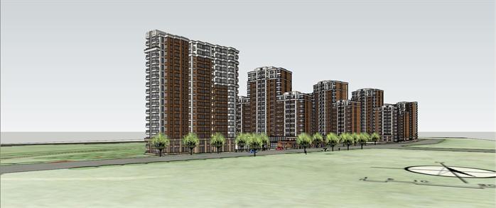 某现代风格小高层住宅小区建筑设计su模型[原创]