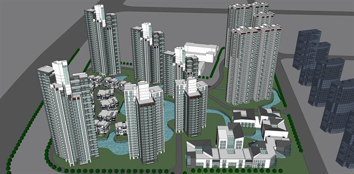某现代简约高层住宅 别墅住宅小区建筑设计su模型
