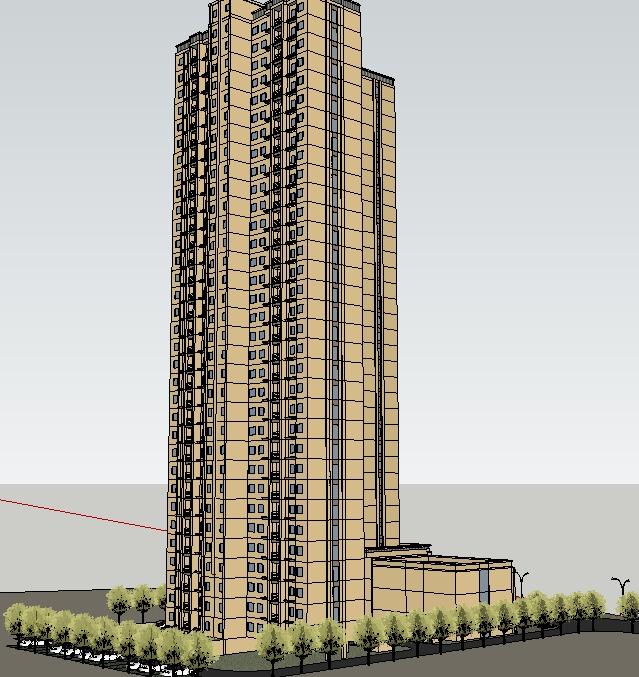 某现代风格高层公寓住宅建筑设计su模型