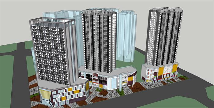 某现代沿街商住综合体大厦建筑设计su模型1