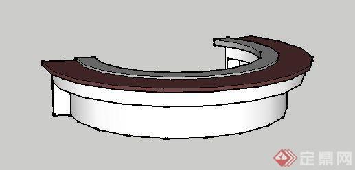 一个弧形坐凳su设计模型素材(1)