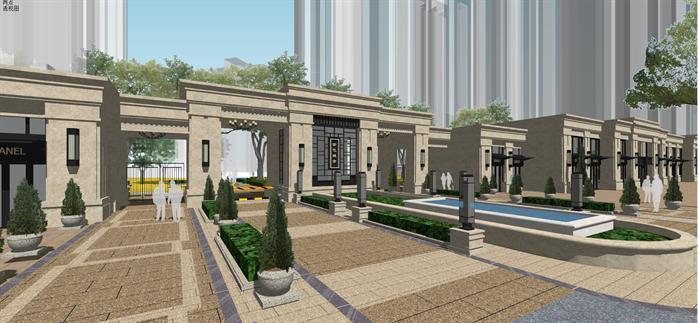 某新古典小区入口及沿街商铺建筑设计方案su模型