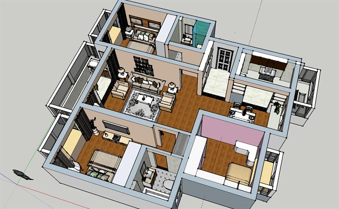 某现代风格住宅空间室内设计su模型5