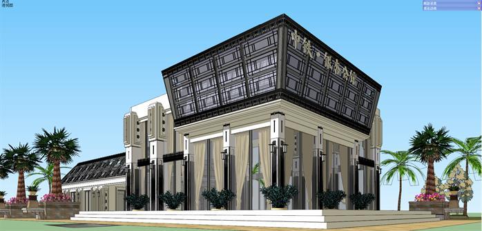 某欧式风格商业售楼部建筑设计su模型[原创]