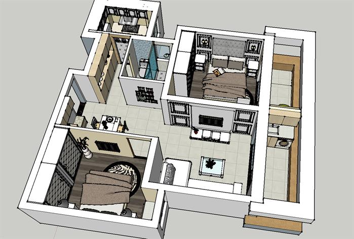某现代风格住宅空间室内设计SU模型6,该模型设计的还是比较细致的,模型场景还是比较大的,方案设计的还是比较细致的,风格简约,设计内容也比较丰富,供广大景观设计,建筑方案设计人员。园林设计人员参考用途.也可以用于同类设计规划项目参考用途。