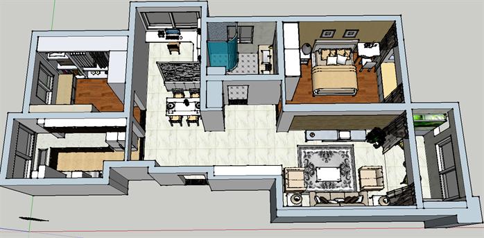 某现代风格住宅空间室内设计su模型