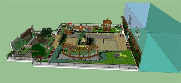 某商场屋顶花园景观设计su模型[原创]