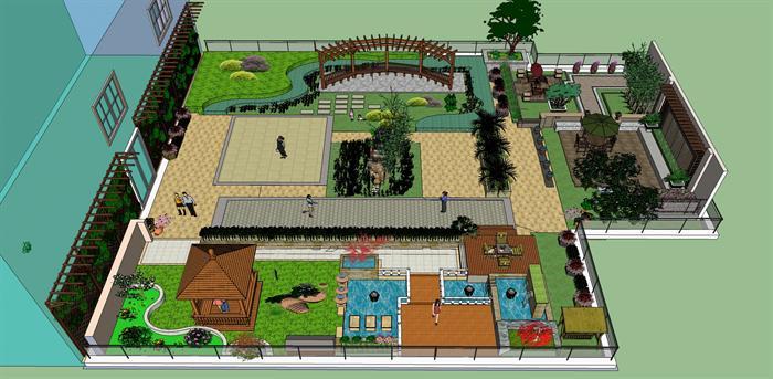 某商场屋顶花园景观设计su模型
