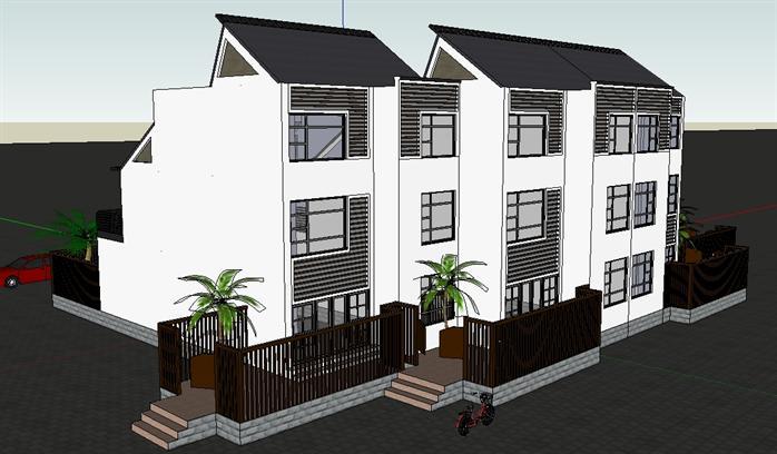 某现代风格三层四联排别墅建筑设计su模型[原创]