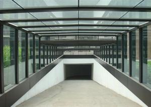 某地下车库入口钢结构雨棚设计方案及施工图(含实景图)