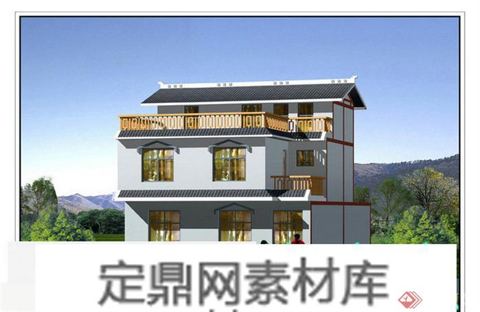 某新农村自建双层别墅建筑设计方案2