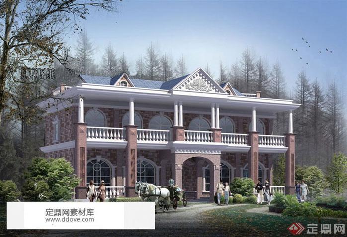 新农村自建多层欧式风格双拼别墅建筑设计施工方案