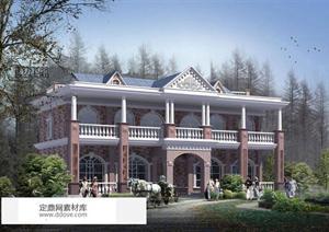 新农村自建多层欧式风格双拼别墅建筑设计施工方案图片