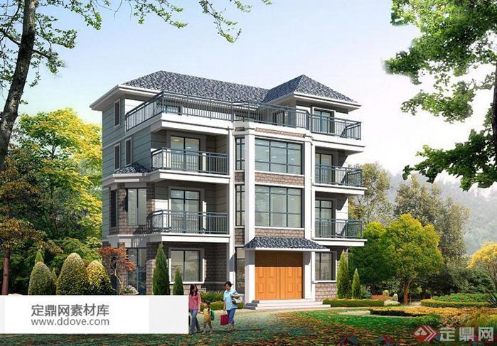 某现代风格农村自建别墅建筑设计方案。资料包含该别墅建筑的立面设计方案、数套楼层平面布置方案。图纸清晰、数据准确。本设计采用坡屋面的形式,具有传统建筑的特色,镂空栏杆以及八角窗的运用体现现代生活方式和现代建筑的气息,又有别于城市住宅的复杂和豪华。结合庭院和周边绿化创造出清新自然,纯朴的乡村氛围。