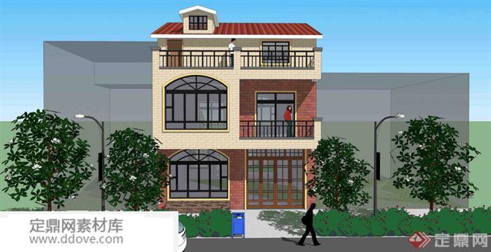 某新房顶自建农村别墅建筑设计别墅图15农村方案多层三角形图片