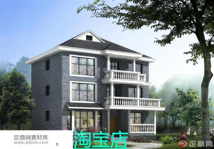 某现代风格农村自建3层小别墅建筑设计方案(22)