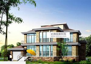 某现代风格新农村自建别墅建筑设计方案,该建筑采用平屋图片