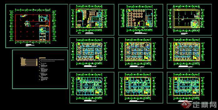 广州某现代酒店建筑设计平面图方案 dwg格式