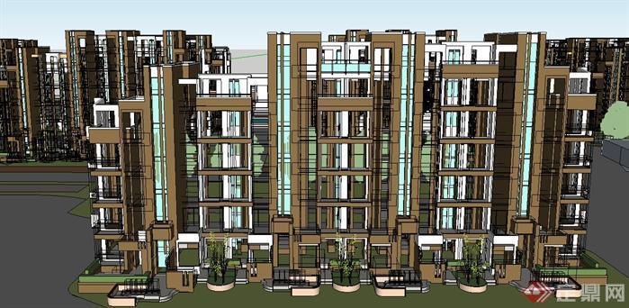 某欧式风格住宅小区建筑su设计模型