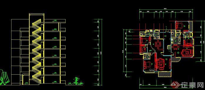 某跃层式住宅楼建筑设计户型平面图