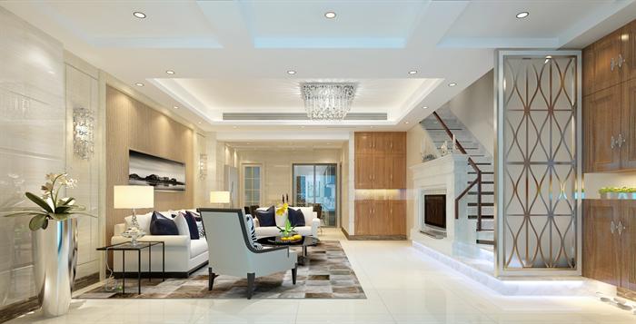 一套现代风格住宅室内装修设计3d-max模型效果图.该住宅