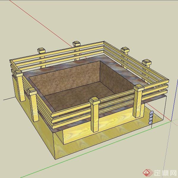 一套3d木栏石方钵su模型素材