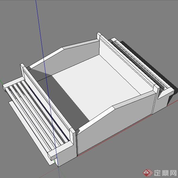 园林景观之树池坐凳设计方案su模型(1)