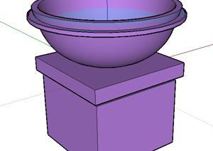 园林景观之柱底圆花钵设计方案SU(草图大师)模型