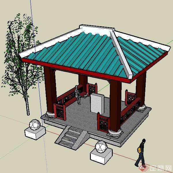 某现代中式四角亭景观设计的su模型