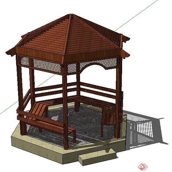 一个古典中式风格木结构凉亭su设计模型素材