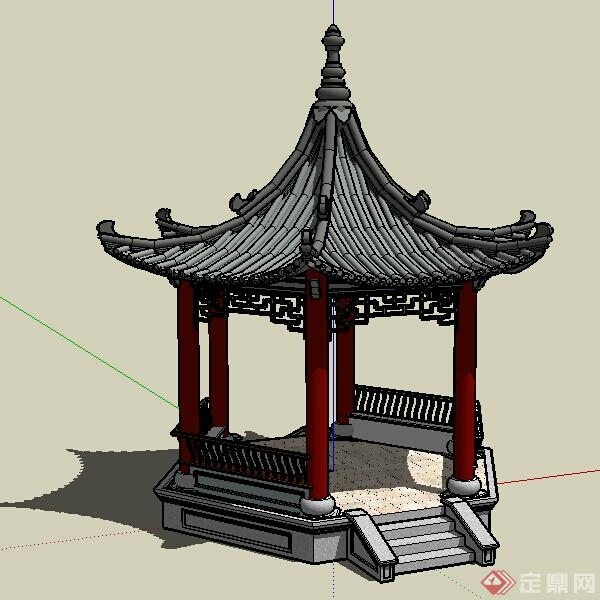 园林景观之六角亭设计素su模型(1)