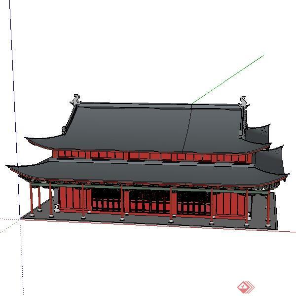 一个古典中式宫殿建筑su模型素材图片