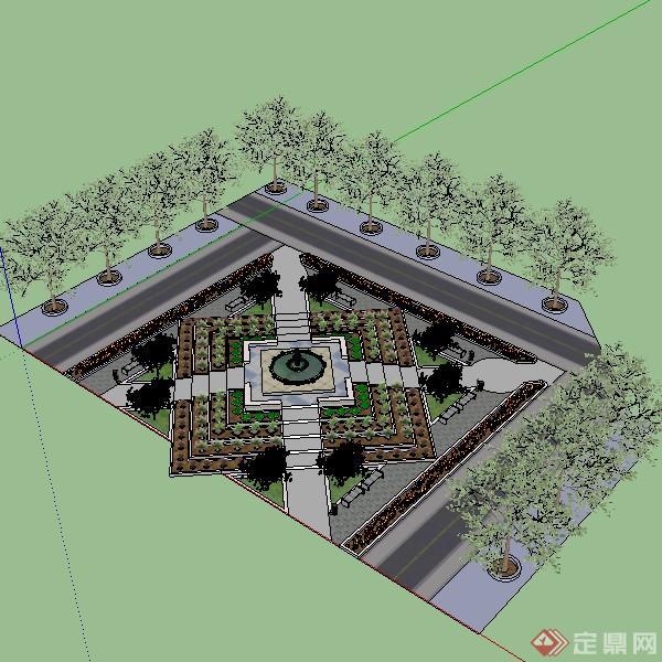 某小型广场喷泉台景观设计su模型