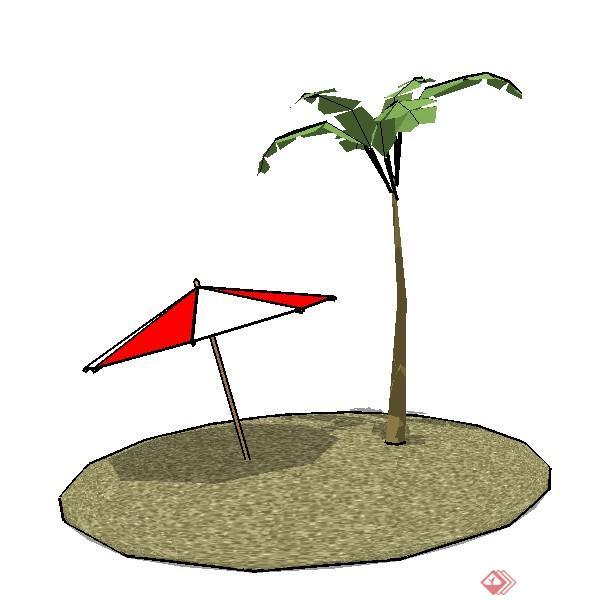 一套椰子树及太阳伞su模型素材
