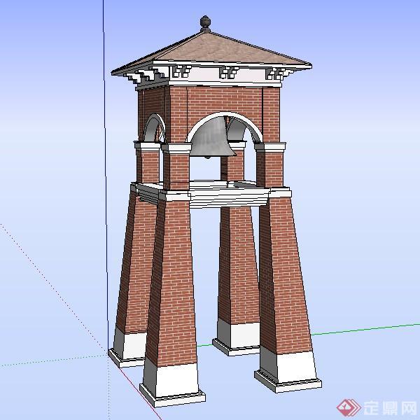 园林景观之闽南风格钟楼设计素材su模型