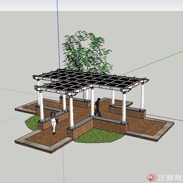 某现代风格园林十字型廊架su模型设计