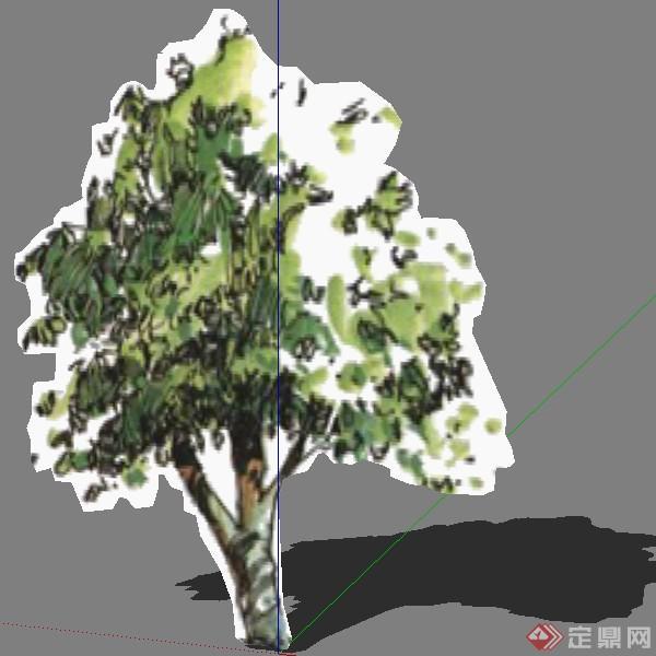 某现代风格园林植物奥列弗手绘树su模型素材