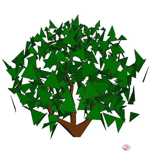 一棵灌木树篱球的景观植物设计su模型