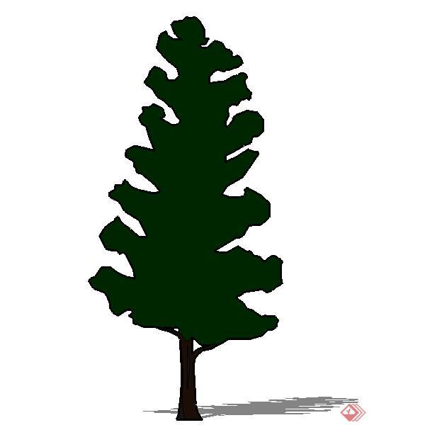 松树矢量图黑白