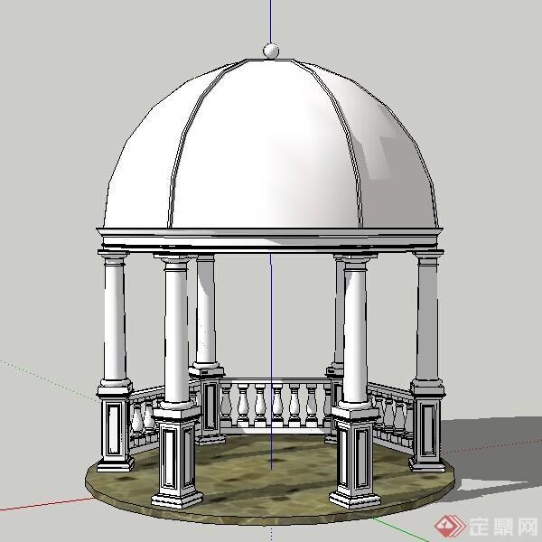 某现代风格欧式亭圆亭子设计su模型素材