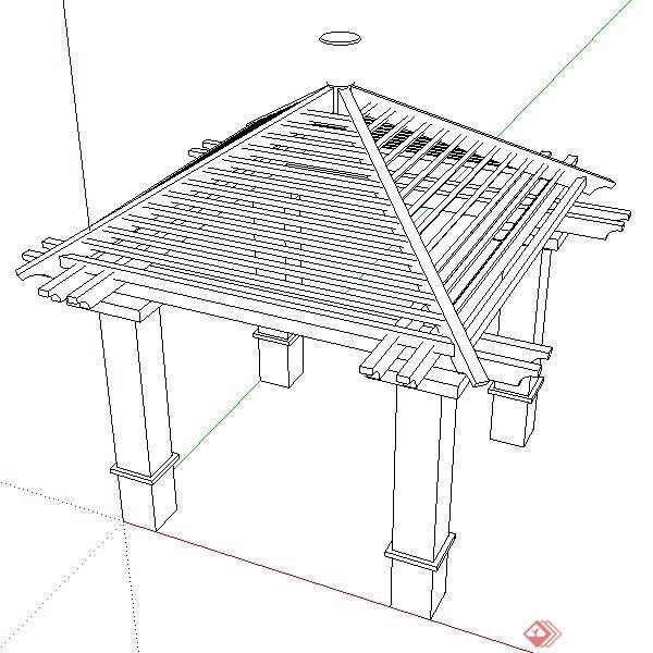 一个现代中式风格3d木亭搭架su模型素材