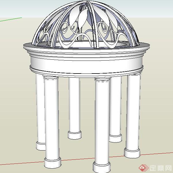 某欧式风格亭子方案设计su模型素材
