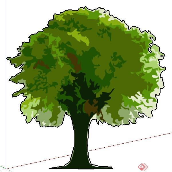 一株2d手绘树木su模型素材(2)