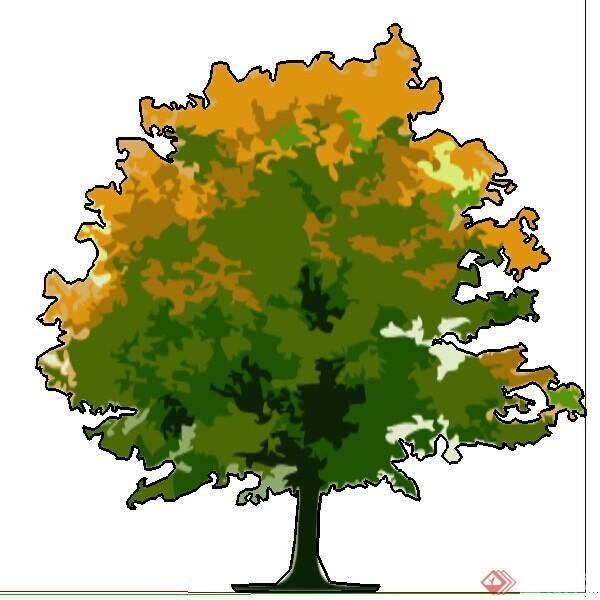 设计素材之景观植物手绘树设计素材su模型4