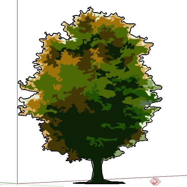 一株2d手绘树木su模型素材