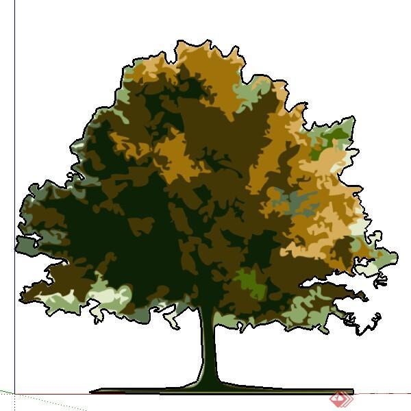 某现代风格园林植物手绘树su模型素材