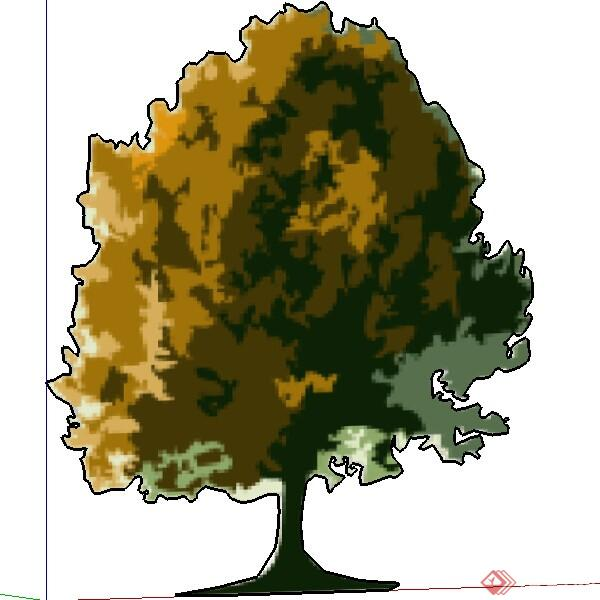 一株2d手绘景观树su模型素材